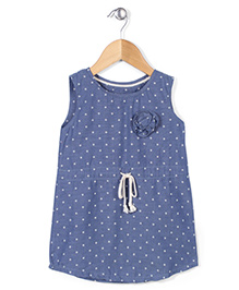 Kiddy Mall Polka Dot Print Dress - Navy Blue