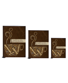 Tiara Diaries Multi Caption New Designer Lakarta Notebook Chocolate Brown - Set Of 3