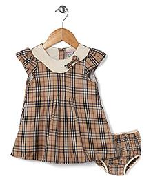 Kiddy Mall Plaid Print Dress With Bloomer - Brown & Black