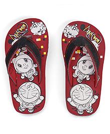 Doraemon Printed Flip Flops - Red Black