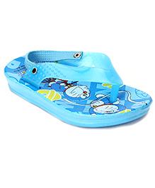 Doraemon Flip Flops With Back Strap - Sky Blue