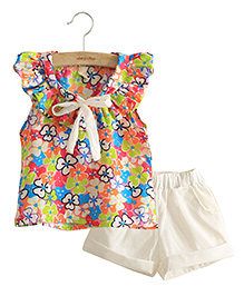 Lil Mantra Top And Shorts Set - Multicolor & White