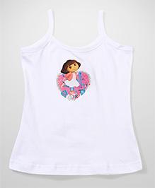 Dora Printed Singlet Slip - White