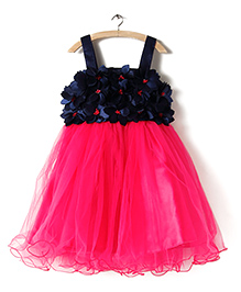 BunChi Floral Tutu Dress - Dark Pink & Blue
