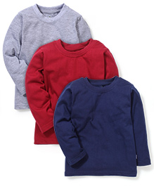 Babyhug Full Sleeves T-shirt Red Grey And Blue - Pack Of 3