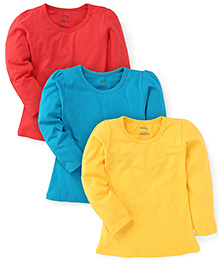 Babyhug Full Sleeves Solid Colour Tops Pack of 3 - Yellow Red Blue