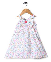 Babyhug Singlet Frock Allover Floral Print - Cream