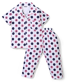 Doreme Half Sleeves Polka Dot With Anchor Print Night Suit - Navy & White