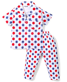 Doreme Half Sleeves Polka Dot With Anchor Print Night Suit - Red & White