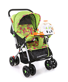 Baby Stroller Cum Pram With Bunny Play Tray & Checkered Seat - Green