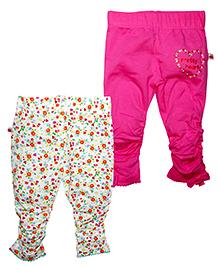 FS Mini Klub Full Length Printed Bottoms Pink Multicolor - Set Of 2