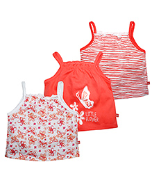 FS Mini Klub Singlet Printed Tees Coral And White - Pack Of 2