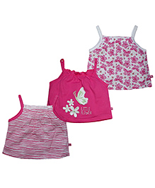 FS Mini Klub Singlet Printed Tees Pink And White - Pack Of 2