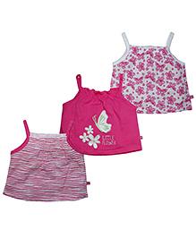 FS Mini Klub Singlet Printed Tees Pink And White - Pack Of 2