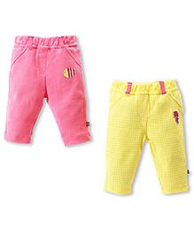 FS Mini Klub Full Length Bottom Pink And Yellow - Set Of 2