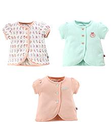 FS Mini Klub Front Open Multi Print Pack Of 3 Vests - Multi Color