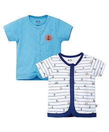 FS Mini Klub Front Open Cotton Vests Set of 2 - Blue And White