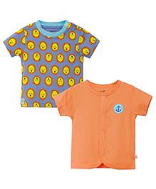 FS Mini Klub Front Open Cotton Vests Set of 2 - Orange And Grey