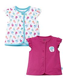 FS Mini Klub Flutter Sleeves Vests Pack of 2 - White Pink