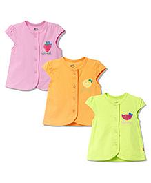 FS Mini Klub Cap Sleeves Vest Pack of 3 - Pink Orange Green