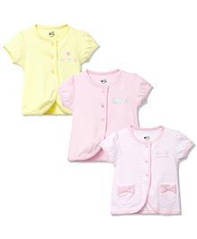 FS Mini Klub Short Sleeves Vest Pack of 3 - Yellow Pink White