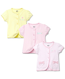FS Mini Klub Short Sleeves Vest Pack of 3 - Yellow Pink White