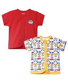 FS Mini Klub Half Sleeves Vests Pack of 2 - Red White Yellow