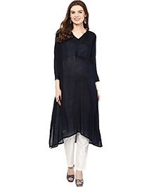 Mamacouture Long Sleeves Asymmetrical Hem Maternity Kurta - Black
