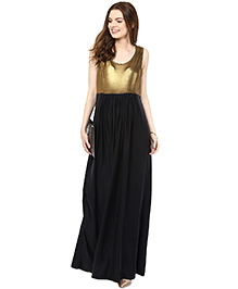 Mamacouture Sleeveless Long Gown - Golden & Black