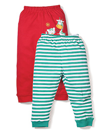 Babyhug Leggings Pack of 2 Multi Print - Red and Green