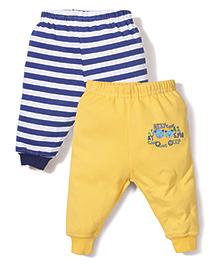 Babyhug Leggings Pack of 2 Multi Print - Blue and Yellow