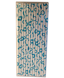 Funcart Paper Straws Round Print Blue - 25 Pieces