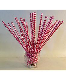 Funcart Paper Straws Diamond Print Red - 25 Pieces