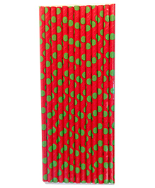 Funcart Paper Straws Round Print Red - 25 Pieces - 923709