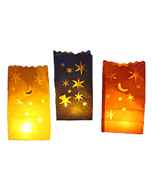 Funcart Stars Candle Bags Blue Red And Yellow- Set Of 3