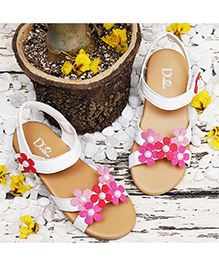D'chica Summery Chic Pearl Flower Sandals - White & Pink