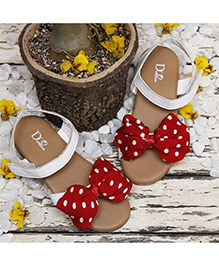 D'chica Polka Dot Love Bows Sandals - White & Red