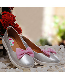 D'chica Chic Bow Ballernias - Silver & Pink