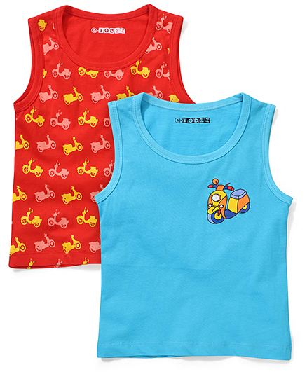 Eteenz Sleeveless Printed Tees Red And Blue - Set Of 2