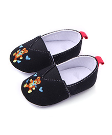 Peach Girl Teddy Patched Shoes - Black