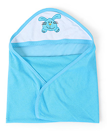Quick Dry Hooded Bath Towel Rabbit Print - Aqua