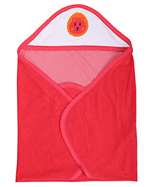 Quick Dry Hooded Bath Towel Lion Print - Red