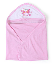 Quick Dry Hooded Bath Towel Butterfly Print - Pink