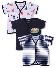 Babyhug Short Sleeves Vests Pack of 3 - White Navy