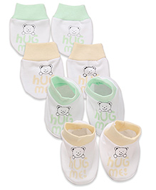 Babyhug Mittens & Booties Bear Print - Green And Peach