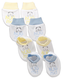 Babyhug Mittens & Booties Bear Print - Yellow And Blue