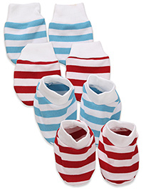 Babyhug Mittens & Booties Stripes Print - Red And Blue