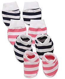 Babyhug Mittens & Booties Bear Print - Pink And Navy