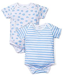 Babyhug Half Sleeves Onesie Cloud Print Set of 2 - White And Sky Blue