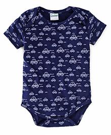 Babyhug Half Sleeves Onesie Car Print - Navy